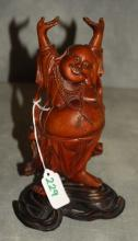 Antique Chinese carved hardwood figure of Hotoi. H:
