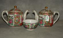 Three assoreted Chinese rose medallion pieces. Teapot:
