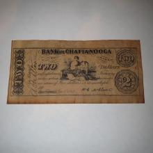 Old Bank of Chatanooga Tennesee 1863 Confederate Counterfeit Bill