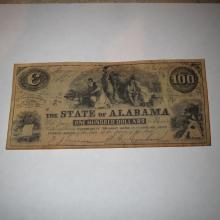 Old State of Alabama One Hundred Dollars - 1864 Confederate Counterfeit Bill