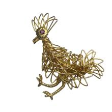 Unique Goldtone Woven Wire Figural Rooster Brooch