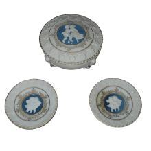 Adorable Vintage Cameo Porcelain Trinket Jar w/ Vanity Plates