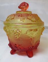 Mid-Century Jeannette Glass Grape Pattern Carnival Candy Jar