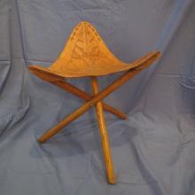 South American Folk Art Leather Acorn Traveling Chair