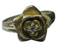 Spectacular Vintage 14k Gold Flower & Diamond Ring