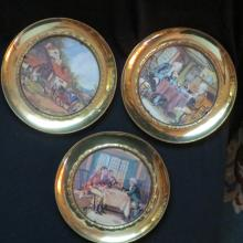 Set of 3 English Brass Wall Plates Decor - Made in England