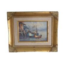 Elegant Original Old Nautical Painting Signed & Framed