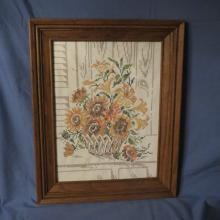 Vintage Handmade Needlepoint Picture of Flowers