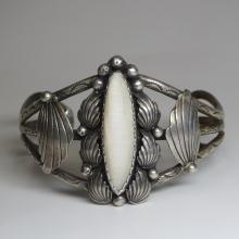 Spectacular Antique Art Nouveau Sterling Silver & Shell Cuff Bracelet