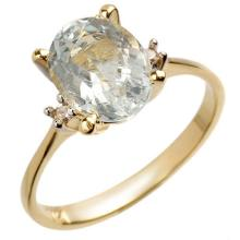 18K Yellow Gold Jewelry 2.04 ctw Aquamarine & Diamond Ring - SKU#U16Y4- 1018- 18K