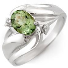 10K White Gold Jewelry 1.27 ctw Green Tourmaline & Diamond Ring - SKU#U13S5- 1377- 10K