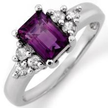18K White Gold Jewelry 1.36 ctw Amethyst & Diamond Ring - SKU#U27G4- 1225- 18K