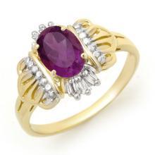 18K Yellow Gold Jewelry 0.77 ctw Amethyst & Diamond Ring - SKU#U17H8- 90094- 18K