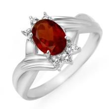 14K White Gold Jewelry 1.04 ctw Garnet & Diamond Ring - SKU#U11A2- 90145-14K
