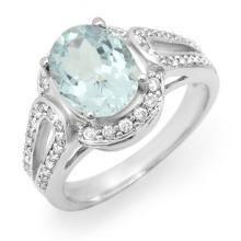 14K White Gold Jewelry 2.50 ctw Aquamarine & Diamond Ring - SKU#U46V5- 99827-14K