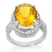 14K White Gold Jewelry 6.0 ctw Citrine & Diamond Ring - SKU#U42R5- 90752-14K