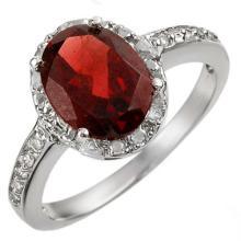 10K White Gold Jewelry 2.10 ctw Garnet & Diamond Ring - SKU#U11J1- 1872- 10K