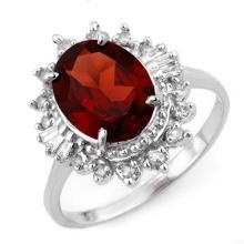 10K White Gold Jewelry 3.45 ctw Garnet & Diamond Ring - SKU#U23G5- 1963- 10K
