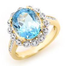 14K Yellow Gold Jewelry 5.33 ctw Blue Topaz & Diamond Ring - SKU#U35U9- 90781-14K