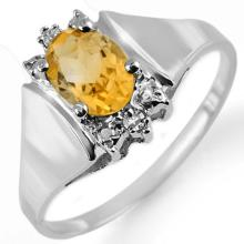 18K White Gold Jewelry 1.23 ctw Citrine & Diamond Ring - SKU#U16L3- 1110- 18K