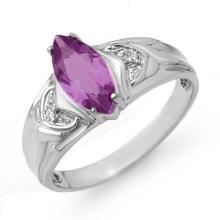 14K White Gold Jewelry 1.07 ctw Amethyst & Diamond Ring - SKU#U12U1- 90104-14K