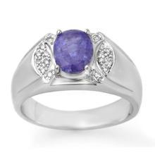 10K White Gold Jewelry 2.65 ctw Tanzanite & Diamond Men's Ring - SKU#U47W7- 90764- 10K