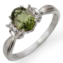 18K White Gold Jewelry 1.06 ctw Green Tourmaline & Diamond Ring - SKU#U21N3- 1610- 18K