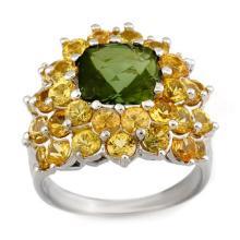 14K White Gold Jewelry 9.0 ctw Green Tourmaline & Yellow Sapphire Ring - SKU#U56K0- 1728-14K