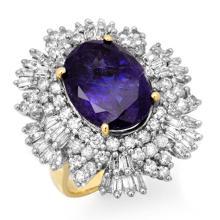 14K Yellow Gold Jewelry 13.25 ctw Tanzanite & Diamond Ring - SKU#U44T90- 90774-14K