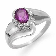 18K White Gold Jewelry 0.56 ctw Amethyst & Diamond Ring - SKU#U19K8- 90149- 18K