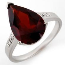 18K White Gold Jewelry 5.1 ctw Garnet & Diamond Ring - SKU#U21M1- 1800- 18K