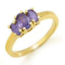 18K Yellow Gold Jewelry 1.0 ctw Tanzanite Ring - SKU#U25W8- 99251- 18K