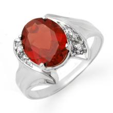 18K White Gold Jewelry 1.64 ctw Garnet & Diamond Ring - SKU#U16M9- 90025- 18K