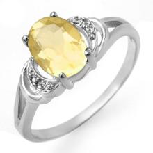 14K White Gold Jewelry 1.03 ctw Citrine & Diamond Ring - SKU#U9M8- 90141-14K
