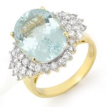 14K Yellow Gold Jewelry 9.25 ctw Aquamarine & Diamond Ring - SKU#U14M31- 99812-14K