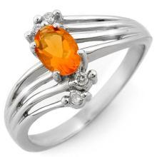 14K White Gold Jewelry 0.60 ctw Fire Opal & Diamond Ring - SKU#U17L8- 1487-14K