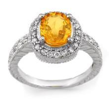 18K White Gold Jewelry 2.90 ctw Yellow Sapphire & Diamond Ring - SKU#U47N8- 1760- 18K