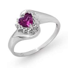 18K White Gold Jewelry 0.52 ctw Amethyst & Diamond Ring - SKU#U13G6- 99012- 18K