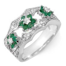 10K White Gold Jewelry 0.85 ctw Emerald & Diamond Ring - SKU#U24M1- 1827- 10K