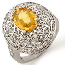 14K White Gold Jewelry 3.55 ctw Yellow Sapphire & Diamond Ring - SKU#U75H7- 1388-14K