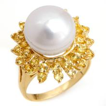 10K Yellow Gold Jewelry 1.50 ctw Yellow Sapphire & Pearl Ring - SKU#U28L1- 1189- 10K