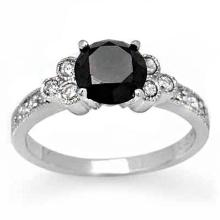 18K White Gold Jewelry 1.86 ctw White & Black Diamond Bridal Ring - SKU#U50V9- 2034- 18K