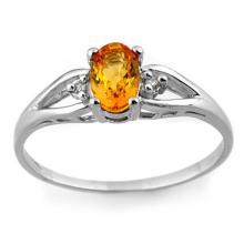 10K White Gold Jewelry 0.77 ctw Yellow Sapphire & Diamond Ring - SKU#U9M5- 1990- 10K