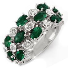 18K White Gold Jewelry 2.20 ctw Emerald & Diamond Ring - SKU#U51X7- 1806- 18K