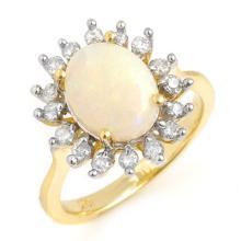 10K Yellow Gold Jewelry 1.78 ctw Opal & Diamond Ring - SKU#U27V6- 90651- 10K