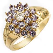 18K Yellow Gold Jewelry 1.04 ctw Tanzanite & Diamond Ring - SKU#U30J2- 1005- 18K