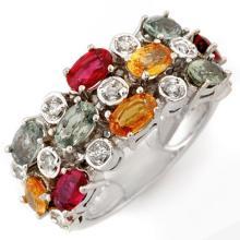 18K White Gold Jewelry 4.20 ctw Multi-Sapphire & Diamond Ring - SKU#U56T7- 1593- 18K