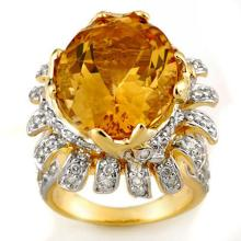 10K Yellow Gold Jewelry 15.75 ctw Citrine & Diamond Ring - SKU#U87H8- 1972- 10K