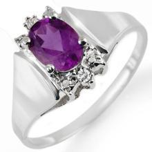 18K White Gold Jewelry 1.23 ctw Amethyst & Diamond Ring - SKU#U16L6- 1197- 18K
