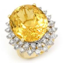 14K Yellow Gold Jewelry 20 ctw Citrine & Diamond Ring - SKU#U11E69- 99645-14K